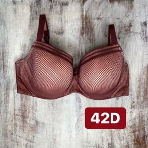 Cacique Maroon Sophisticated Geo Bal Bra 42D